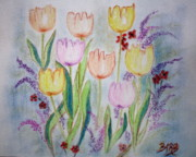 Floral Greeting Card Posters - Joy Poster by Barbara Teller