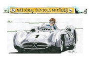 Mercedes Automobile Drawings - Juan Fangio Mercedes Benz British Grand Prix by Paul Guyer