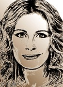 Celebrity Greeting Cards Mixed Media - Julia Roberts in 2008 by J McCombie