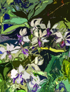 Orchids Digital Art Prints - Jungle Orchids Print by Mindy Newman