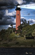 Stormy Night Prints - Jupiter lighthouse Print by Rudy Umans