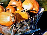 Pumpkins Paintings - Just Picked by Susan Elise Shiebler