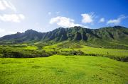 Pastureland Photo Prints - Kaaawa valley and Kualoa Ranch Print by Dana Edmunds - Printscapes