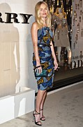 Ethnic Print Framed Prints - Kate Bosworth Wearing A Burberry Framed Print by Everett