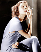Smoking Cigarette Prints - Katharine Hepburn, Ca. 1930s Print by Everett