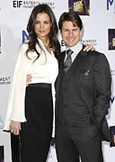 White Shirt Prints - Katie Holmes, Tom Cruise In Attendance Print by Everett