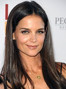 Gold Necklace Prints - Katie Holmes Wearing A Jennifer Meyer Print by Everett
