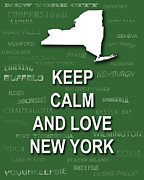 New York City Map Digital Art - Keep Calm and Love New York State Map City Typography by Keith Webber Jr
