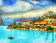 Landscape Drawings Drawings Acrylic Prints - Kefalonia Fiscardo Acrylic Print by George Rossidis