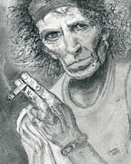 Keith Richards Drawings - Keith Richards by Gina Cordova