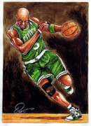 Nba Drawings Metal Prints - Kevin Garnett Metal Print by Dave Olsen