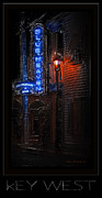 Night Lamp Framed Prints - Key West Florida - Blue Heaven Rendezvous Framed Print by John Stephens