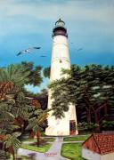 Seagull Mixed Media Framed Prints - Key West Lighthouse Framed Print by Riley Geddings