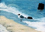 Seagull Pastels - Kickin Up Some Sand by Jan Amiss