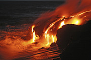 Flowing Lava Posters - Kilauea Lava Flow Sea Entry, Big Poster by Martin Rietze