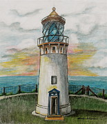 Linda Simon Wall Decor Prints - Kilauea Lighthouse Print by Linda Simon