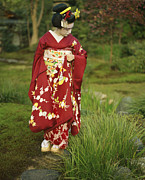 Entertainers Framed Prints - Kimono-clad Geisha In A Park Framed Print by Justin Guariglia