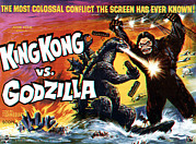 Classic Sf Posters Framed Prints - King Kong Vs. Godzilla, Poster Art Framed Print by Everett