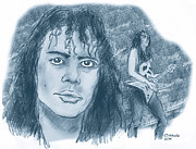 Metallica Drawings - Kirk Hammett by Chris  DelVecchio