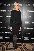 Satin Dress Prints - Kirsten Dunst At Arrivals For Somewhere Print by Everett