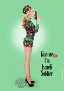 Girls Prints Mixed Media Prints - Kiss Me Im Israeli Soldier Print by Pin Up  TLV