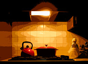 Kitchen Closed Print by Albert Stewart