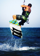 Kite Boarding Framed Prints - Kitesurfer Framed Print by Stylianos Kleanthous