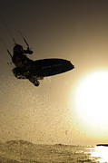 Kite Surfing Metal Prints - Kitesurfing at sunset Metal Print by Hagai Nativ