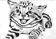 Cats Prints Drawings Prints - Kitten Print by Gail Schmiedlin