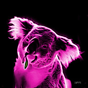 Koala Pop Art Digital Art Metal Prints - Koala Pop Art - Magenta Metal Print by James Ahn