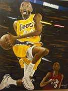 Lakers Painting Originals - Kobe by Anthony Hurt
