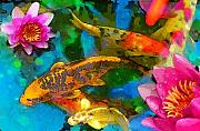 Lotus Art Prints - Koi play Print by Gina Signore