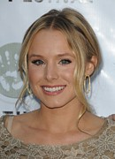 Gold Earrings Framed Prints - Kristen Bell At Arrivals For Artivist Framed Print by Everett