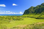 Pastureland Photo Prints - Kualoa Ranch Mountains Print by Dana Edmunds - Printscapes