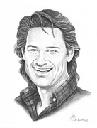 Famous People Drawings - Kurt Russell by Murphy Elliott