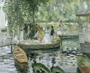 Water Reflections Painting Framed Prints - La Grenouillere Framed Print by Pierre Auguste Renoir