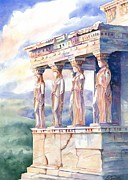 Greek Sculpture Painting Prints - Ladies in Waiting Print by Davilla Harding