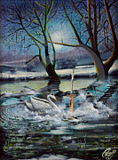 Lady In Lake Painting Posters - Lady in the lake Poster by John Palliser