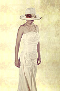 Straw Hat Posters - Lady in white dress Poster by Joana Kruse