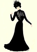 Marian Cates Metal Prints - Lady Of Fashion In Black Metal Print by Marian Cates