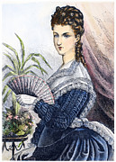 Drapery Photo Prints - LADY WITH FAN, c1878 Print by Granger