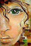 Chapeaux Paintings - Lady With Green Eye by Patty Meotti
