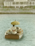 Row Boat Prints - Lady with Parasol in Boat Print by Jill Battaglia