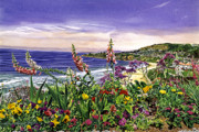 Laguna Beach Painting Metal Prints - Laguna Niguel Garden Metal Print by David Lloyd Glover
