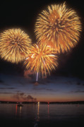 Champlain Photos - Lake Champlain Fireworks by John Burk