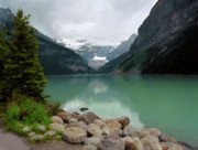 Lush Colors Posters - Lake Louise Poster by Crystal Garner