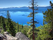Lake Tahoe Photography Prints - Lake Tahoe from Flume Trail over Sand Harbor State Park Print by Scott McGuire