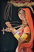 Usha Rai Framed Prints - Lambani girl Framed Print by Usha Rai
