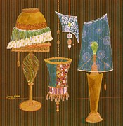 Lamps Mixed Media Posters - Lamp Menagerie I Poster by Jenny Sorge