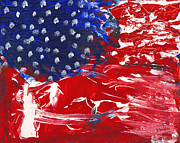 Red White And Blue Mixed Media Posters - Land of Liberty Poster by Luz Elena Aponte